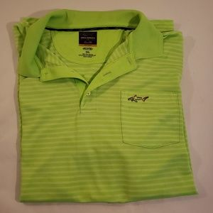 Mens Greg Norman Play Dry XXL Green Stripe Golf
